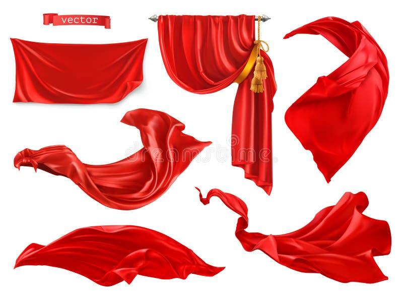 Röd gardin realistisk uppsättning för vektor 3d vektor illustrationer