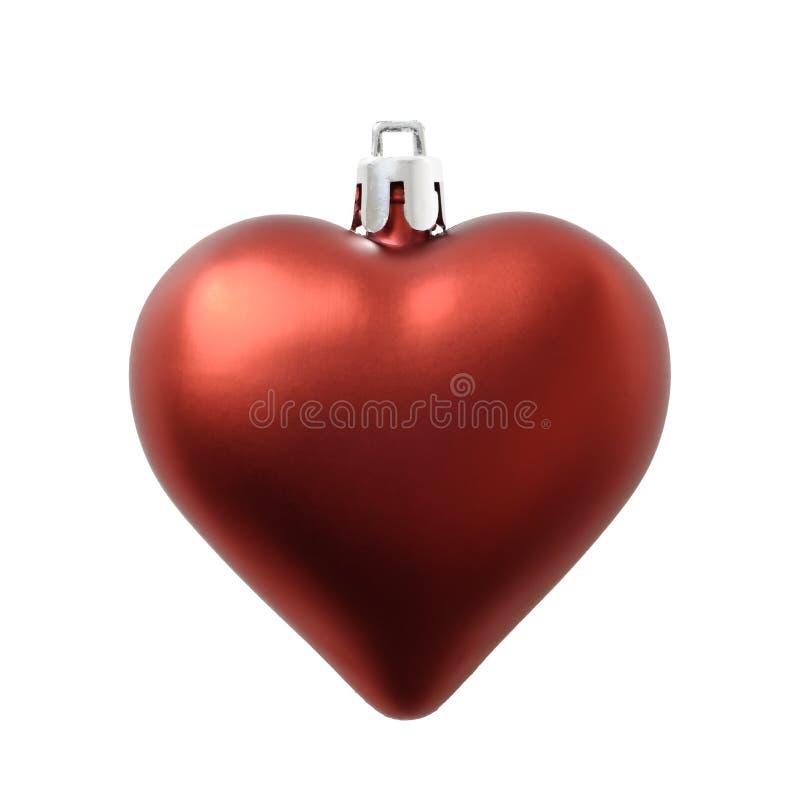 Röd garnering för julhjärtaform på white arkivfoton