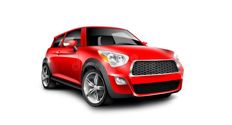 Röd generisk kompakt liten bil på vit bakgrund med den isolerade banan royaltyfri illustrationer