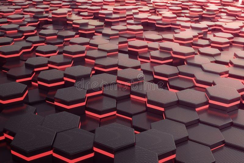 Röd glödande futuristisk bakgrund för sexhörning framförande 3d stock illustrationer