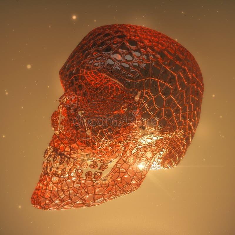 Röd glansig demonskalle med blodåder och sprickor Fasan 3d framför begreppsillustrationen royaltyfri illustrationer
