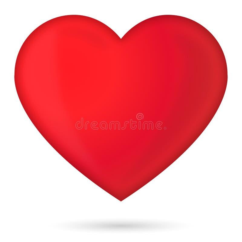 Röd glansig hjärta 3D med skugga vektor illustrationer
