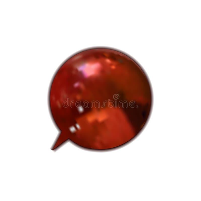 Röd glansig isolerad anförandebubbla för vektor, beståndsdel för design 3D royaltyfri illustrationer