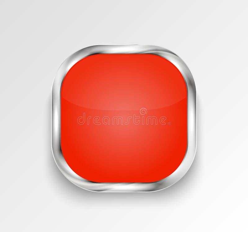 Röd glansig knapp eller baner också vektor för coreldrawillustration royaltyfri illustrationer