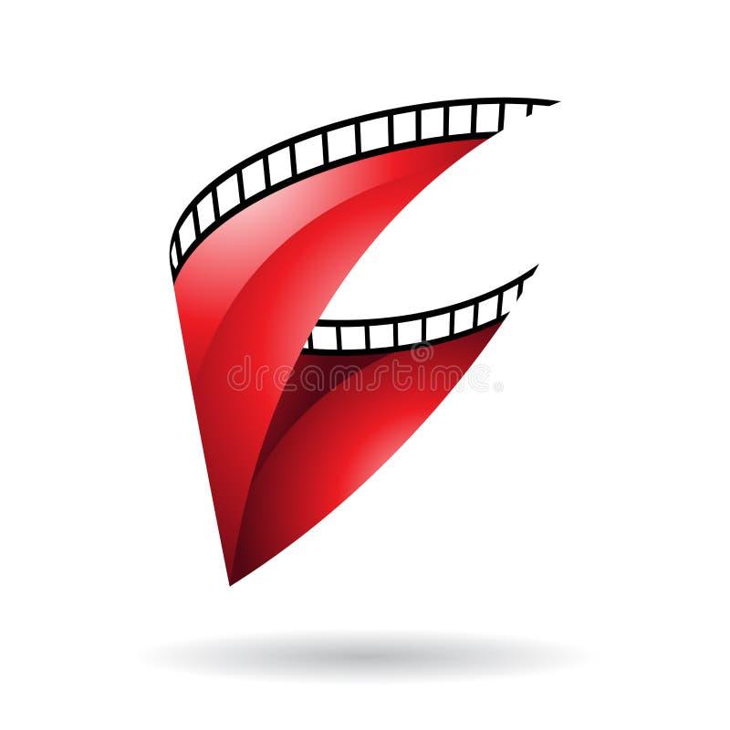 Röd glansig symbol för filmrulle stock illustrationer