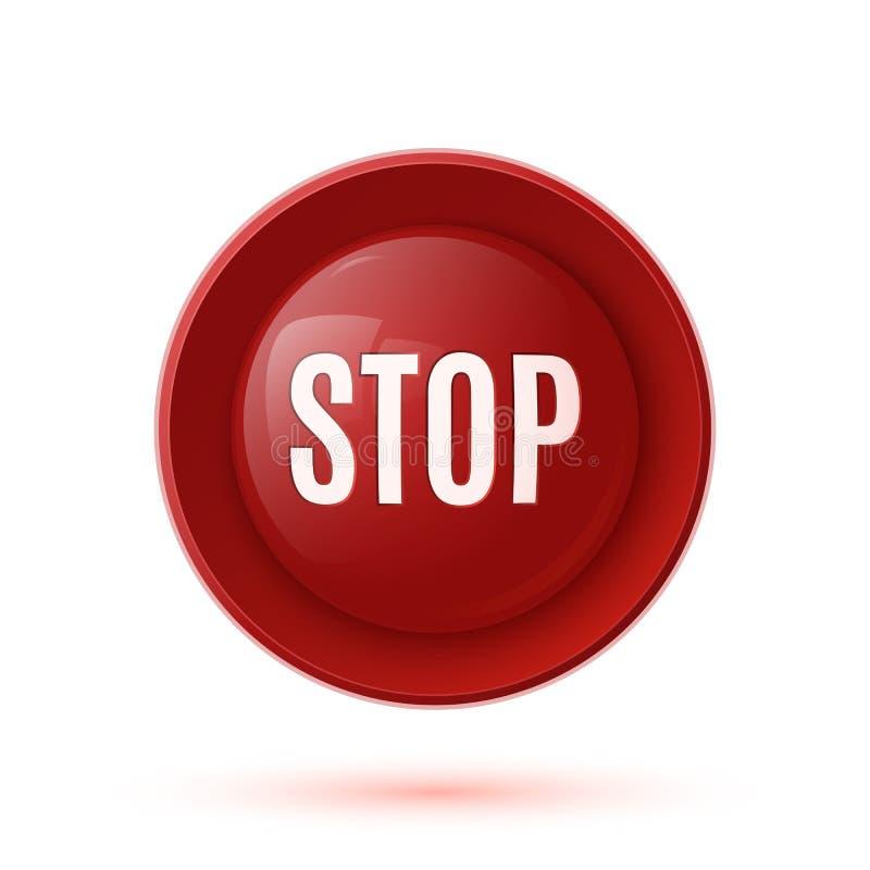 Röd glansig symbol för stoppknapp stock illustrationer