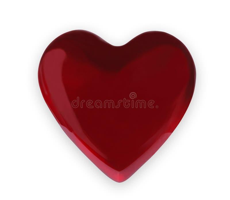 Röd glass hjärta som isoleras på vit bakgrund, valentindag fotografering för bildbyråer