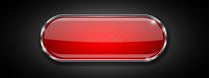 Röd glass knapp på svart bakgrund Skinande symbol 3d med metallramen vektor illustrationer