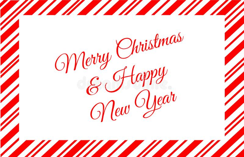 Röd godis Cane Border With Merry Christmas och meddelande för lyckligt nytt år arkivbild