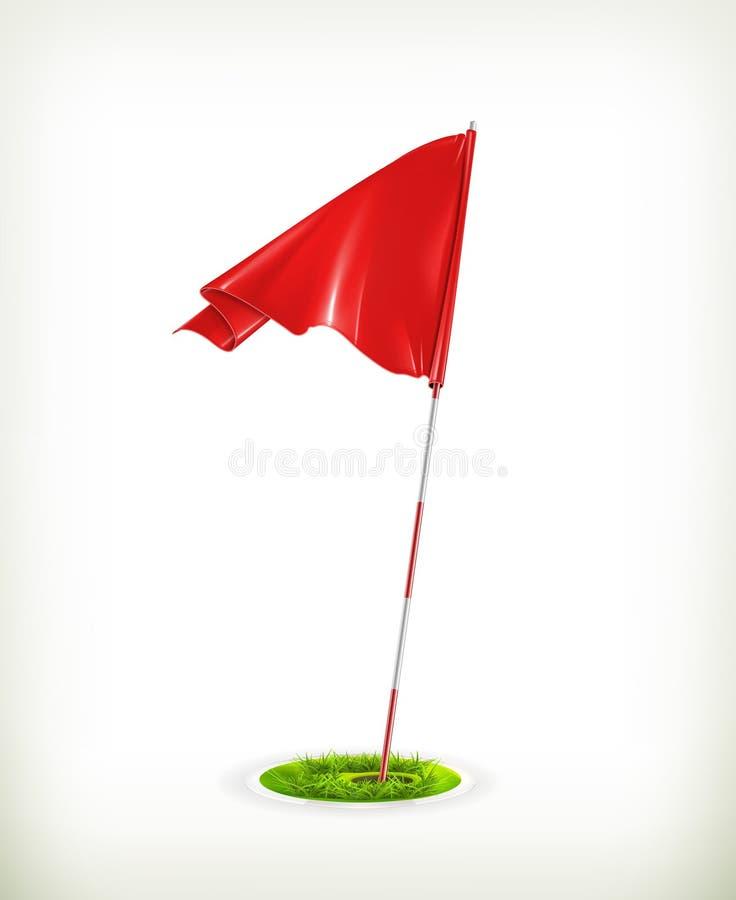 Röd golfflagga vektor illustrationer