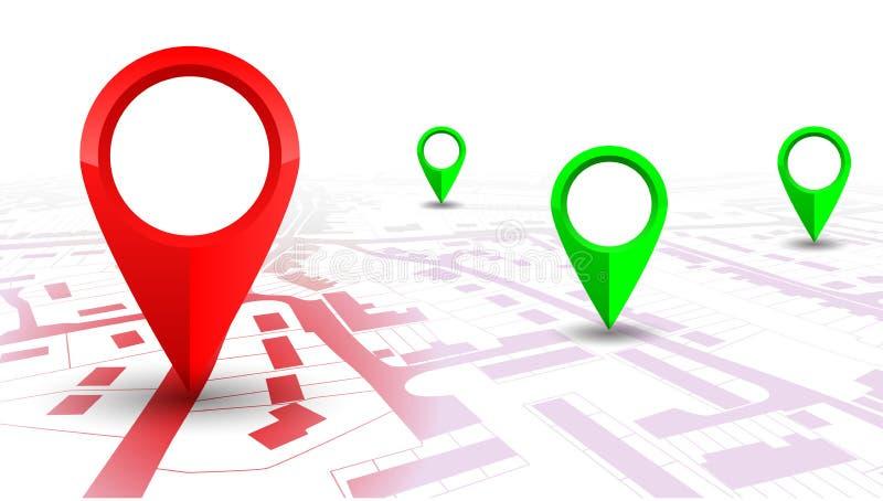 Röd GPS navigatörpekare på stadsöversikt, från ställe till stället royaltyfri illustrationer