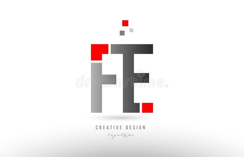röd grå design för symbol för kombination för logo för alfabetbokstavsfe f e royaltyfri illustrationer