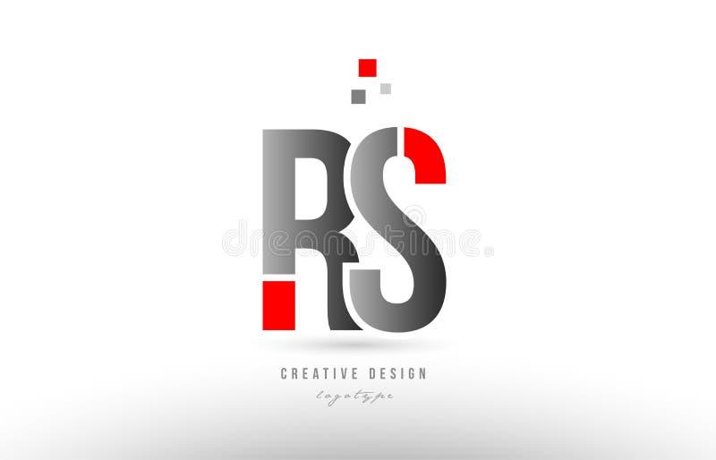 röd grå design för symbol för kombination för logo för alfabetbokstavsrs r s vektor illustrationer