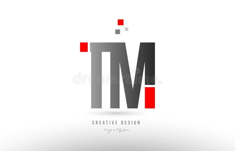 röd grå design för symbol för kombination för logo för alfabetbokstavstm t M royaltyfri illustrationer