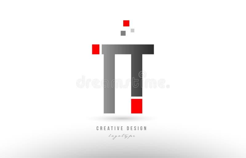 röd grå design för symbol för kombination för logo för alfabetbokstavstt t t vektor illustrationer
