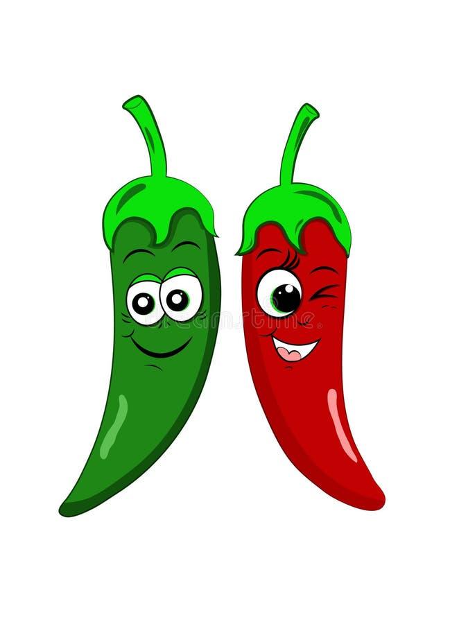 Röd grön kylig duett Stygga blinkningsmileyframsidor royaltyfri illustrationer