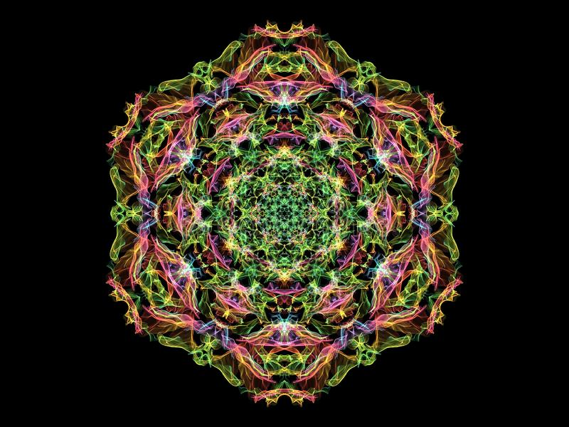 Röd, grön och gul blomma för abstarctflammamandala, dekorativ blom- sexhörnig modell på svart bakgrund Yogatema stock illustrationer
