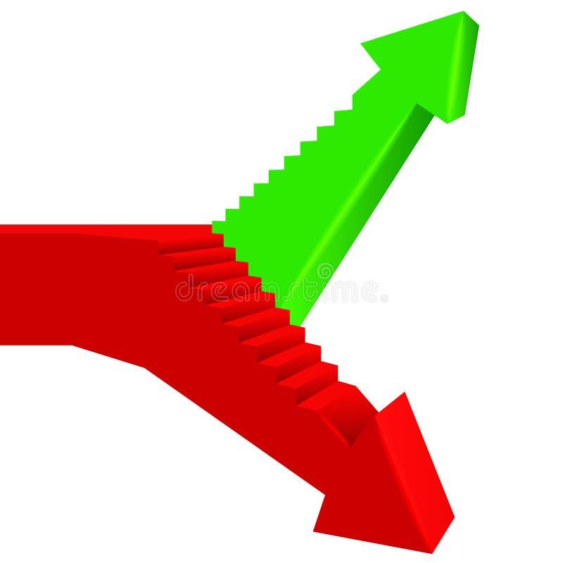 Röd grön pilriktning med trappuppgången på sida vektor illustrationer