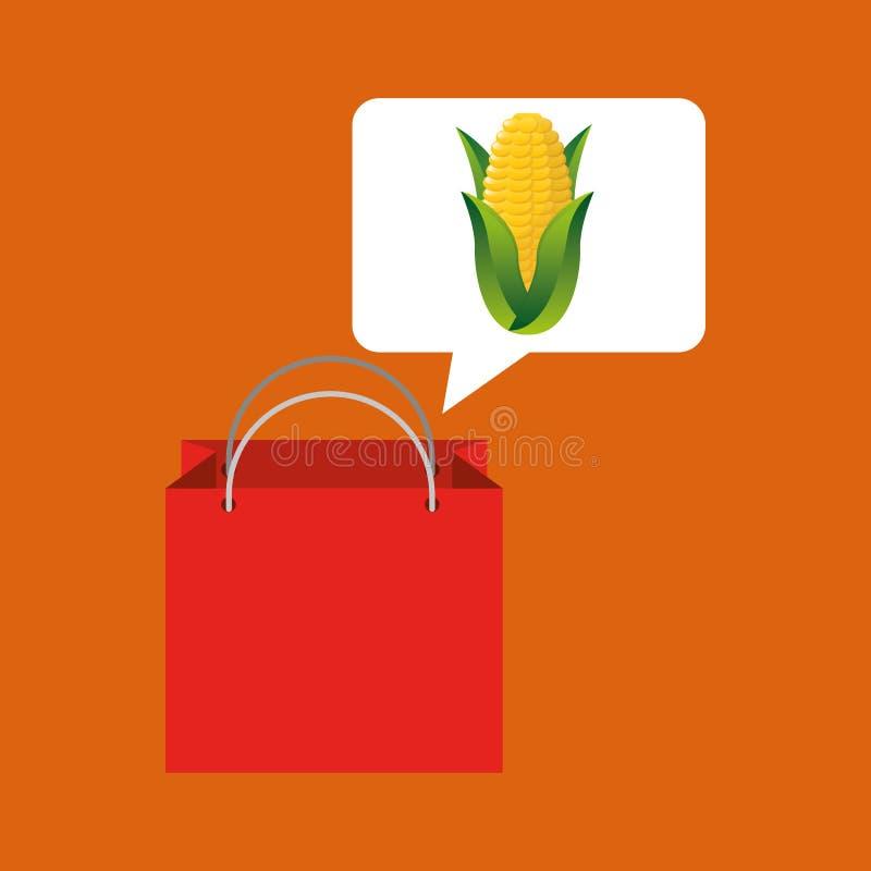 Röd grönsak för majskolv för påseköpandehavre royaltyfri illustrationer