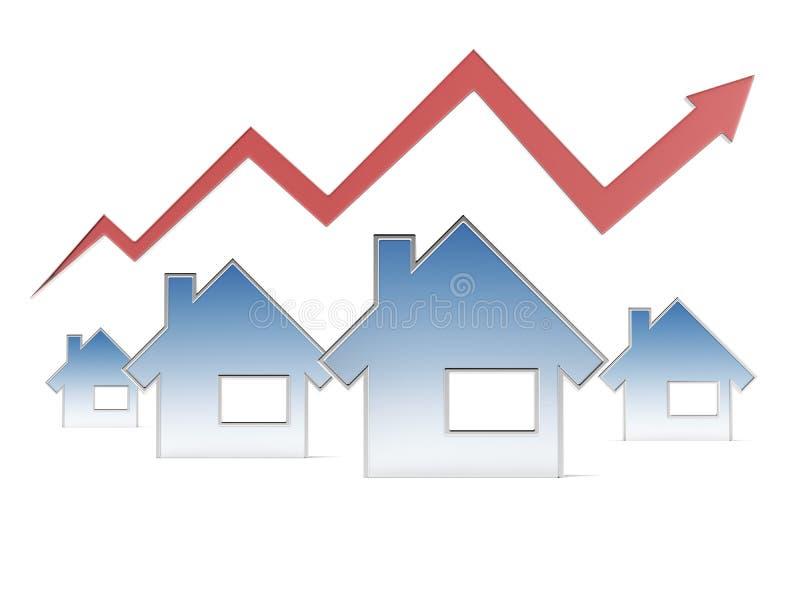Röd graf och hus royaltyfri illustrationer