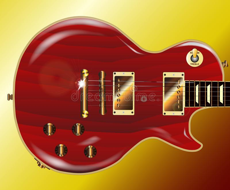Röd Grained elektrisk gitarr med guld- maskinvara vektor illustrationer