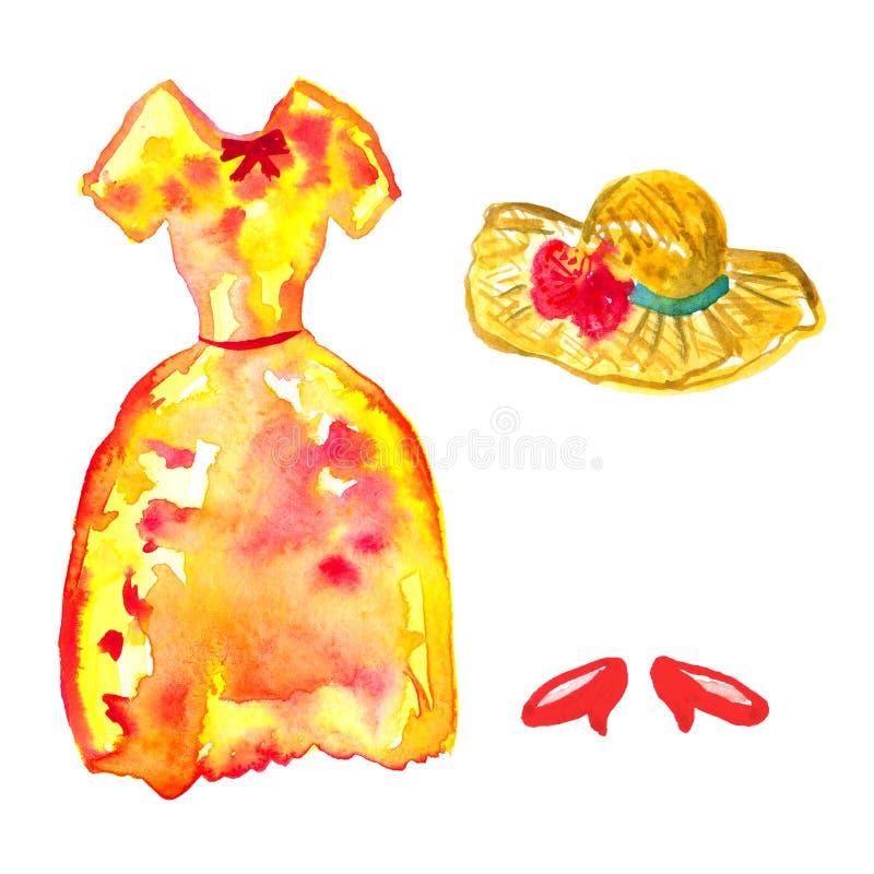 Röd gul klänning, röda skor och hatt Hand dragen vattenf?rgillustration bakgrund isolerad white royaltyfri illustrationer