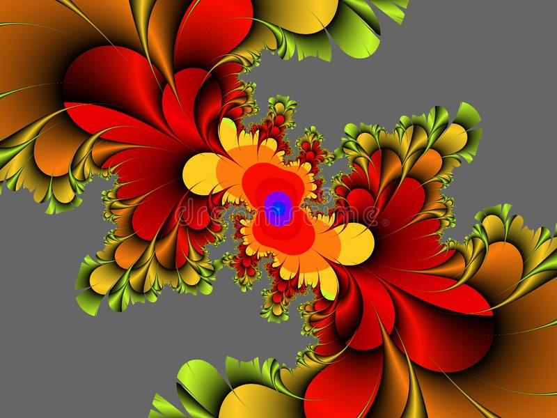Röd guld- dekorativ abstrakt fractal, blommadesign, sidor, bakgrund arkivbilder