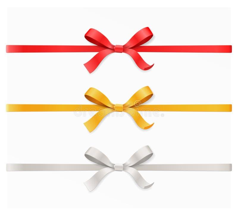 Röd, guld-, för silverfärgpilbåge fnuren och band på vit bakgrund Bästa sikt för vektorillustration 3d vektor illustrationer