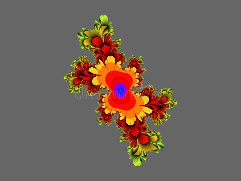 Röd guld- grå dekorativ abstrakt fractal, blommadesign, sidor, bakgrund royaltyfria foton