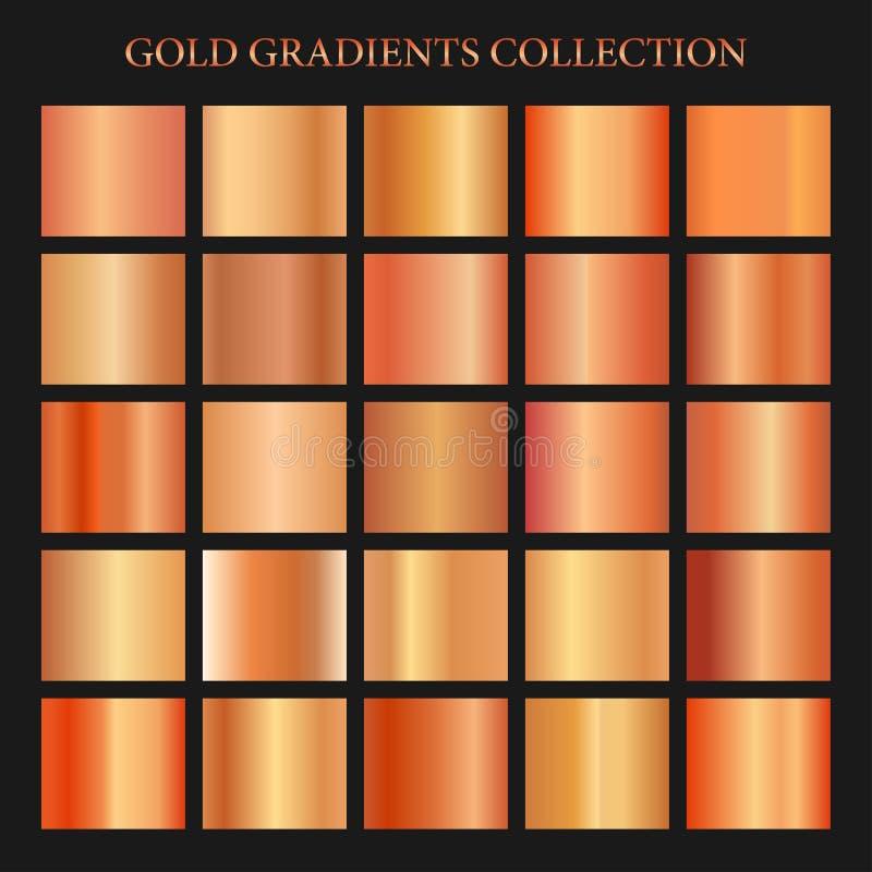 Röd guld- lutningsamling för modedesign också vektor för coreldrawillustration stock illustrationer