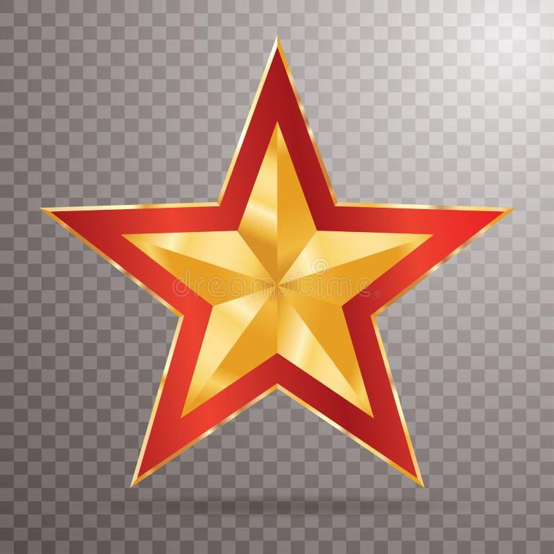 Röd guld- stjärna för trans. vektor illustrationer