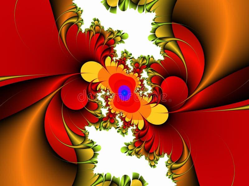 Röd guld- vit dekorativ abstrakt fractal, blommadesign, sidor, bakgrund fotografering för bildbyråer
