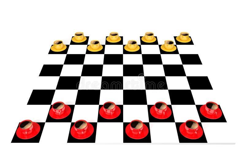 Röd-guling kaffekopp på en schackbräde stock illustrationer