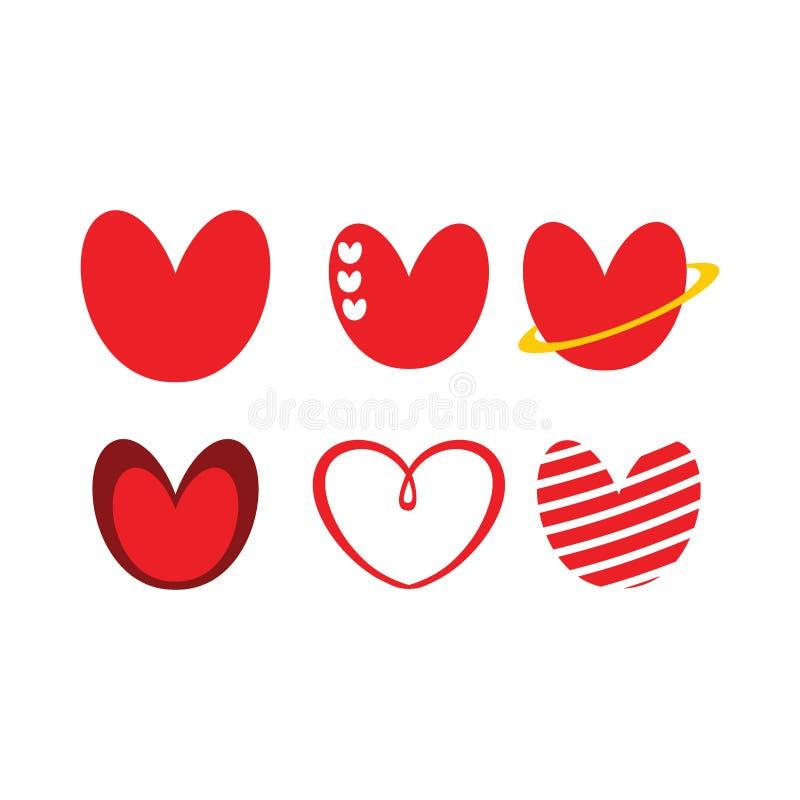 Röd gullig förälskelsehjärtalogo eller illustration vektor illustrationer