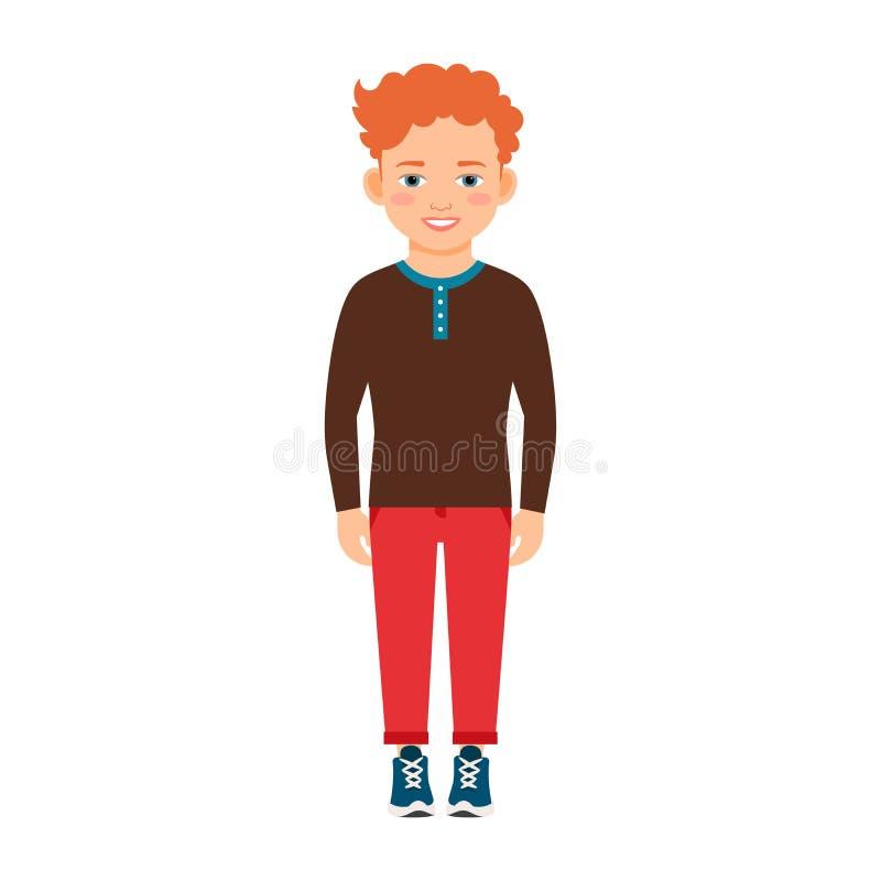 Röd hårpojke i brun skjorta stock illustrationer