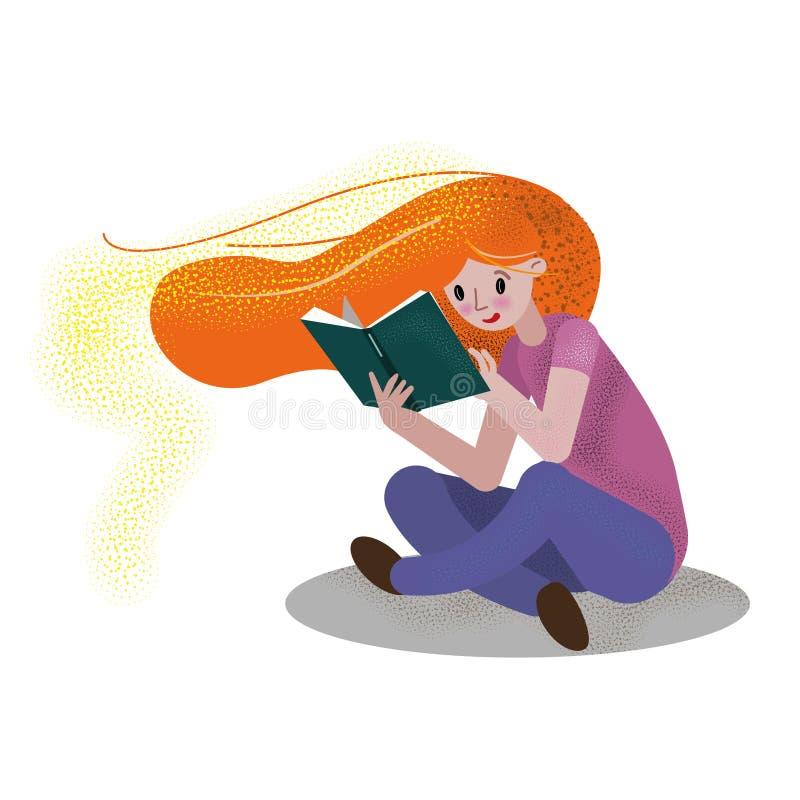 Röd haired flicka som läser boken vektor illustrationer