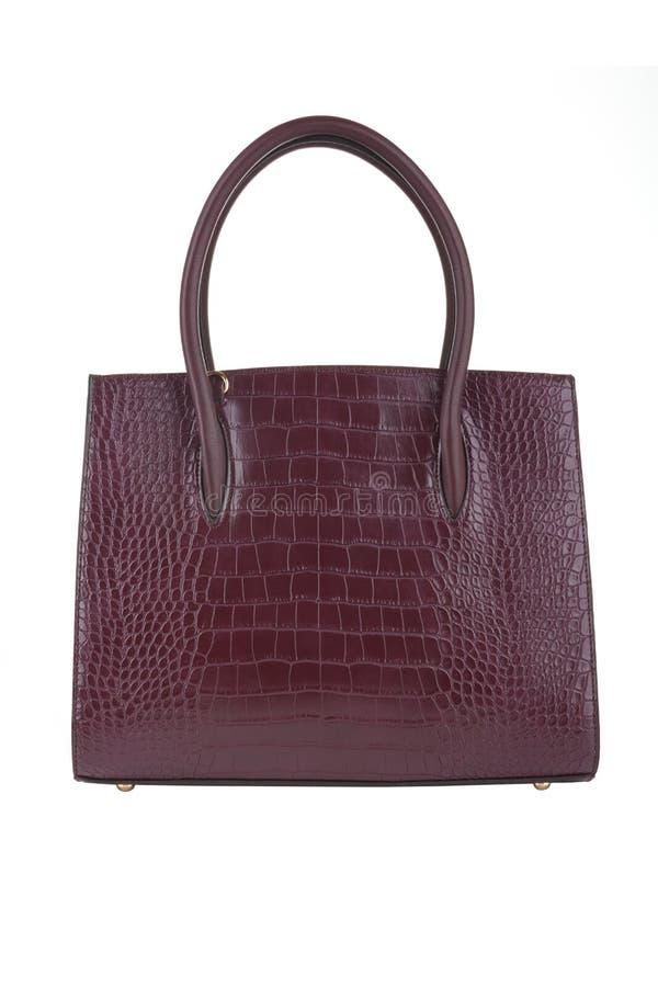 Röd handväska för hand för BourgogneFauxläder arkivfoto