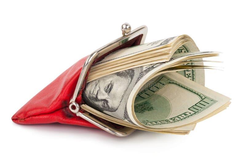 Röd handväska med pengarna fotografering för bildbyråer