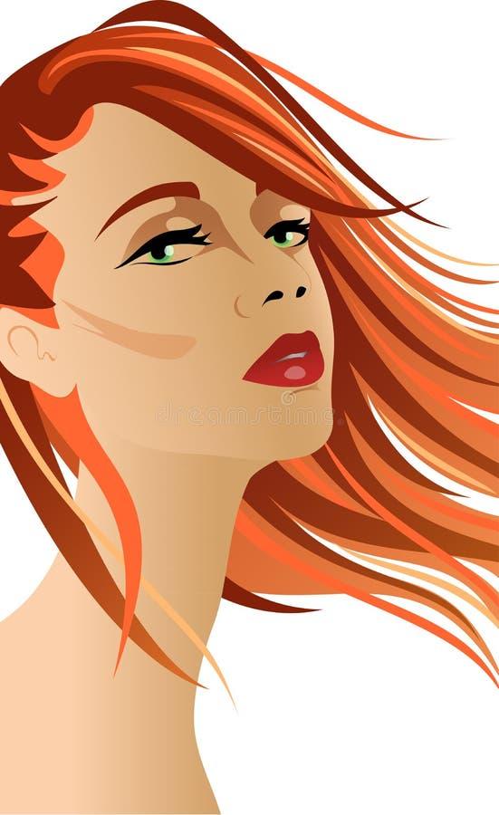Röd head kvinna med hår på vinden stock illustrationer