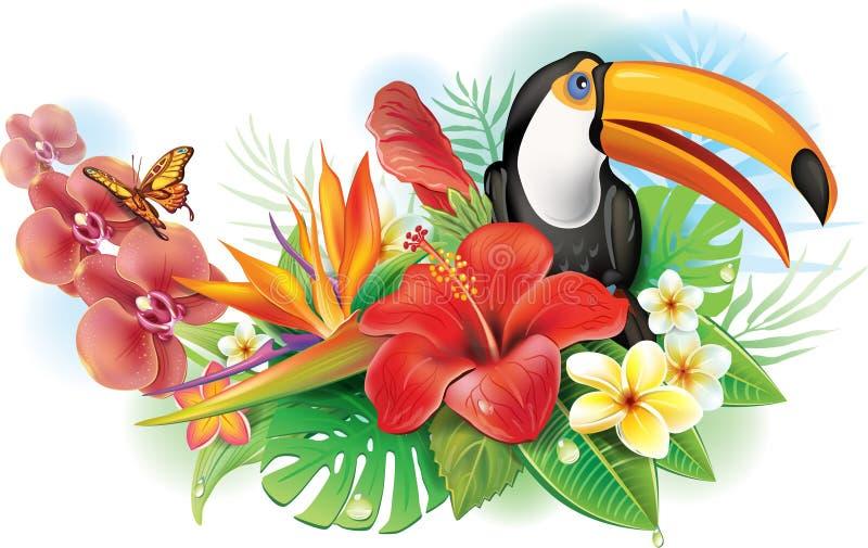 Röd hibiskus, tukan och tropiska blommor stock illustrationer