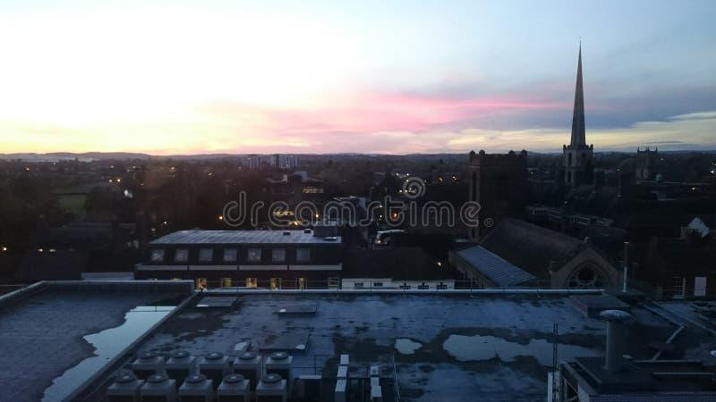Röd himmel för solnedgång arkivbilder