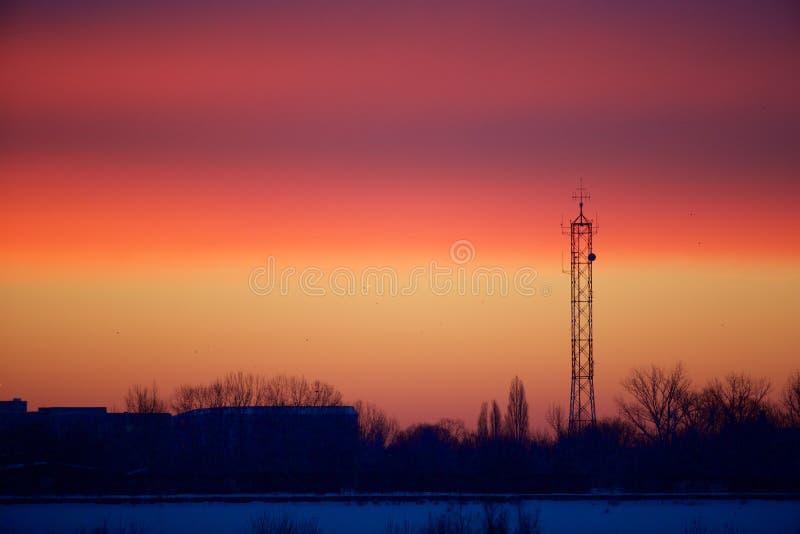 Röd himmel för soluppgången arkivfoto