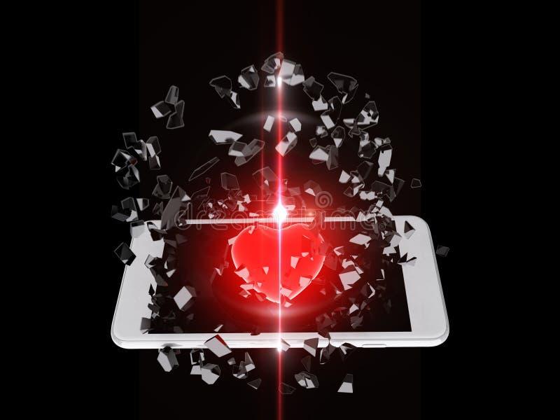 Röd hjärta brast ut ur smartphonen, linssignalljus vektor illustrationer