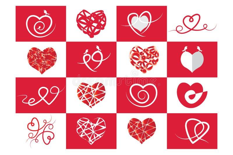 Röd hjärta, förälskelse och Valentine& x27; s-dag vektor illustrationer