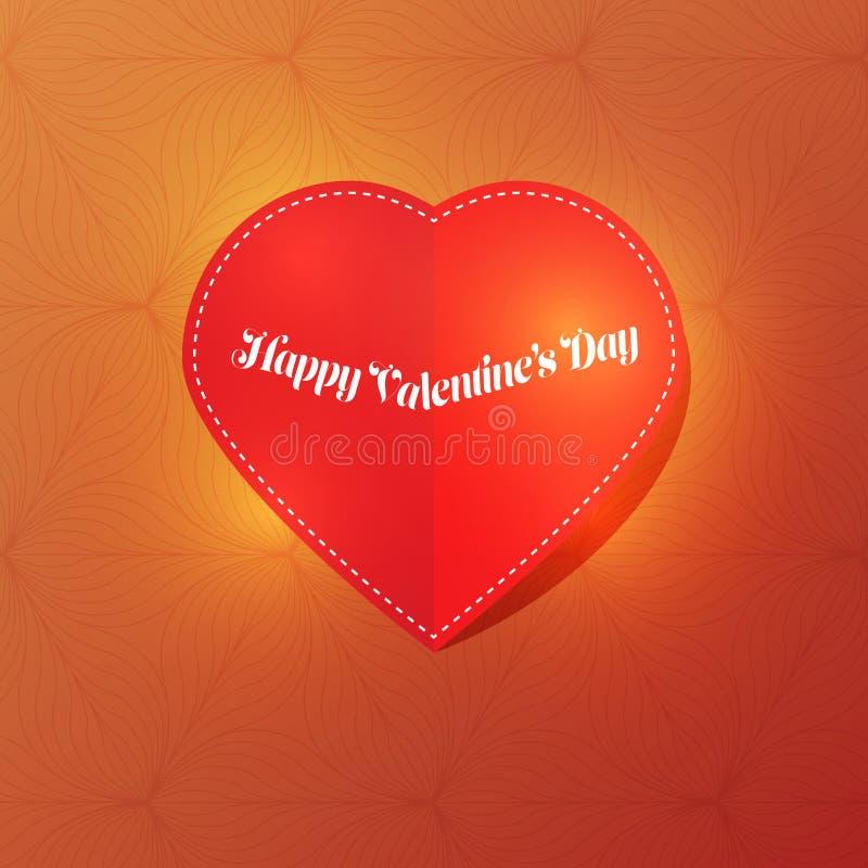 Röd hjärta för papperssnittförälskelse för dag för valentin` s på mörker - grön bakgrund med ljus vektor illustrationer