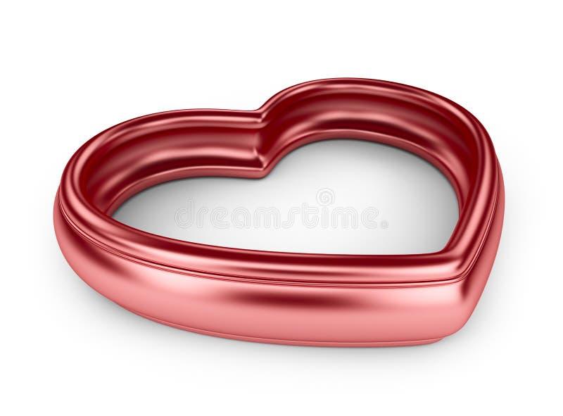 Röd hjärta för singel. Förälskelsebegrepp. 3D   royaltyfri illustrationer