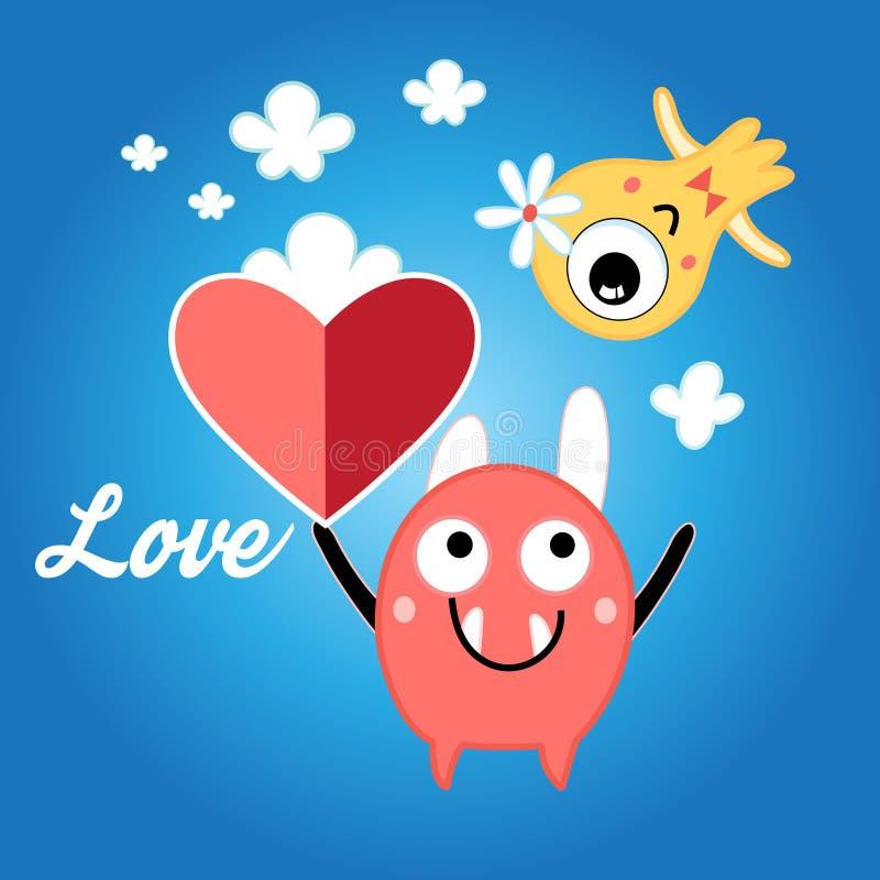 Röd hjärta för vänmonster royaltyfri illustrationer