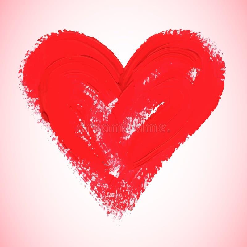 Röd hjärta för vattenfärg, vektorillustration stock illustrationer