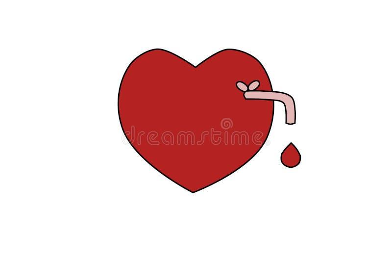 R?d hj?rta f?r vektor med ett vattenklapp och en droppe av blod stock illustrationer