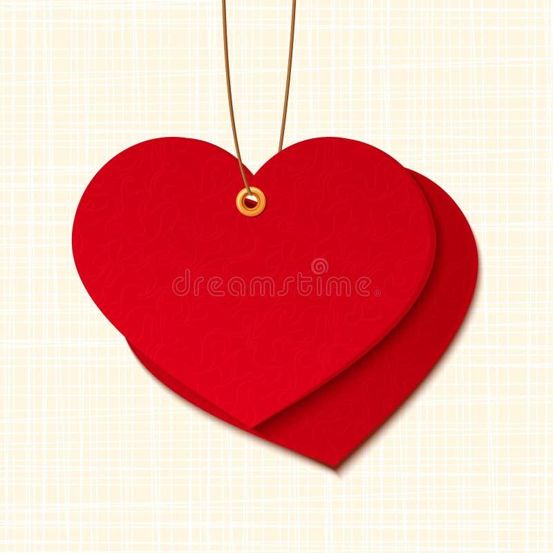 Röd hjärta formad etikett Vektor EPS-10 stock illustrationer